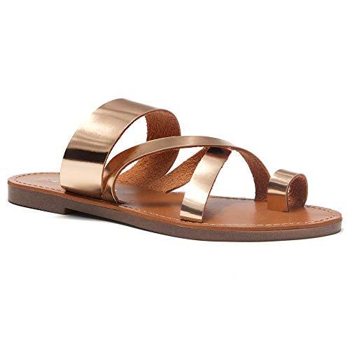 - Herstyle Donnoddi Women's Slip On Flip Flops Gladiator Shoes Open Toe Loop Flat Sandals Rose Gold 11.0
