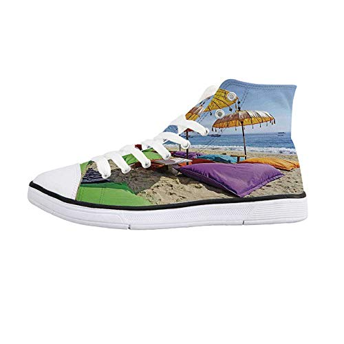 - Balinese Decor Comfortable High Top Canvas Shoes,Pristine Beach Bathed by The Bali Sandy Seashore Daytime Umbrellas Pillows Leisure for Women Girls,US 7