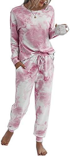 Womens Pajamas Set Tie Dye Long Tops and Pant PJ Sets Nightwear Sleepwear Loungewear