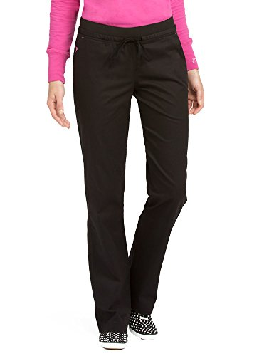 Med Couture Signature Yoga Drawstring Scrub Pant for Women, Black/Raspberry, Small Tall ()