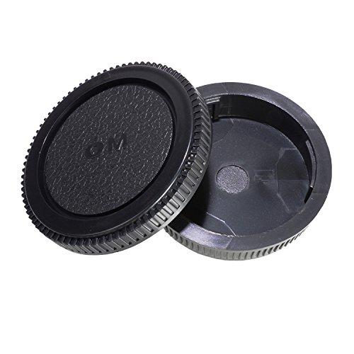 CamDesign Rear Lens Cap and Body Cap Set for Olympus OM System. Fits OM-1, OM-2, OM-3, OM-4, OM-10, OM-20, OM-30, OM-40, OM-G cameras and OM lens systems + CamDesign Wristband Lens Focus Ring