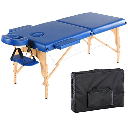 Artechworks 84″ Portable Folding Massage Table Facial Solon Spa Tattoo Bed with Armrest Shelf and Cradle Cover, Dark Blue