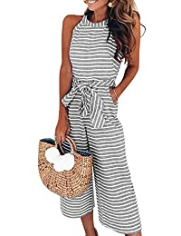 YAMTHR Women's Sexy Striped Spaghetti Strap Backless Wide Leg Jumpsuits Rompers