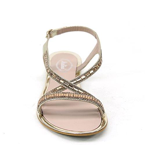 Nuovo Brieten Donna Rhinstone Cross Strappy Ornamento Metallico Comfort Sandali Piatti Oro