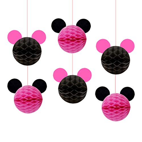KREATWOW Minnie Mouse Party Decorations Minnie Mouse Honeycomb Balls for Girls 1st 2nd Birthday 6 Pack]()