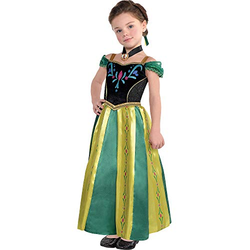 Costumes USA Frozen Anna Coronation Costume for Girls, Size Medium, Includes a Dress, a Hair Comb, and a Necklace -