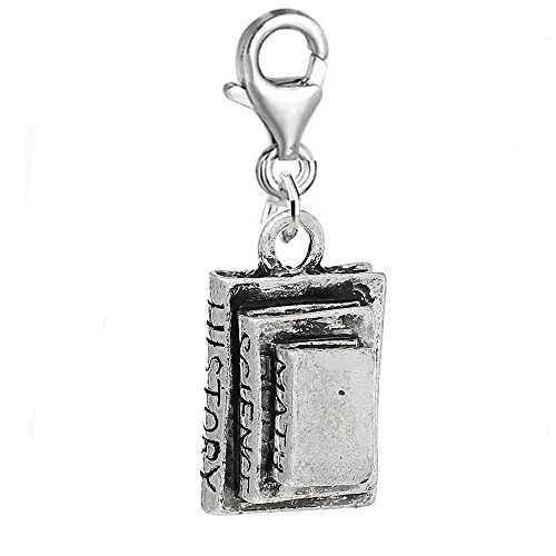 SEXY SPARKLES School Books Math Science History Books Charm Clip with Lobster Clasp (Girl Sexy School Charm)