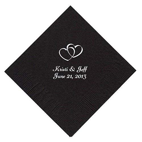 Personalized Cocktail, Beverage or Dessert Napkins - Double Hearts 1 (100)