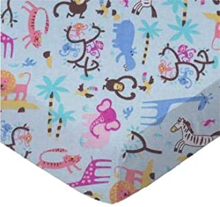 product image for SheetWorld 100% Cotton Flannel Flat Crib Toddler Sheet 28 x 52, Jungle Animals Blue, Made in USA
