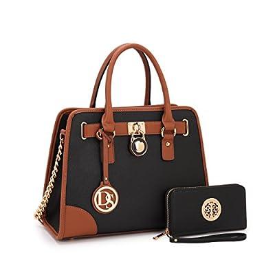 MMK Collection collection Fashion Handbag~Classic Women Purse~Packlock Handbag for Women` Signature fashion Satchel Purse ~ Beautiful Designer Purse & Women Satchel Purse (6892W-Black)