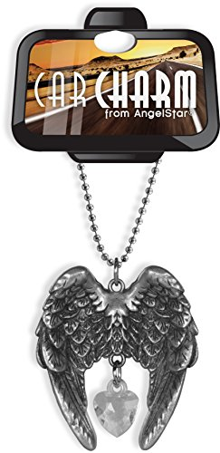 AngelStar Crystal Guardian Car Charm, Metal Angel Wings, 2 Inches High, 15485 -