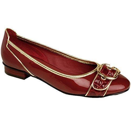 ZAFIRO Mujer Tacón Bajo DORADO BORDE PLATEADO CHAROL Brillante Delantero Hebilla mujer Zapatos Planos Rojo
