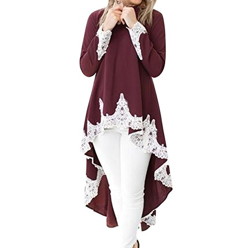 Lache avec Blouse lgant Chemisier Manches Robe Dentelle Irrgulire Dcontract Longues Long Chic bordeaux Top T Style Femme shirt HYZa1a
