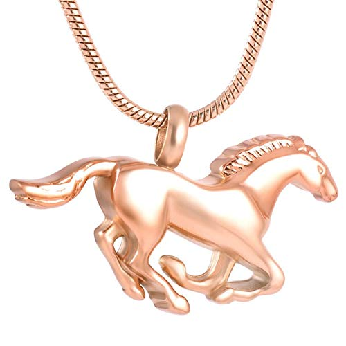 Gimax 8669 Silver,Gold,Rose Gold,Black Stainless Steel Race Horse Pet Cremation Jewelry Collection Urn Necklace Memorial Ashes Holder - (Metal Color: Rose Gold, Main Stone Color: Pendant with Chain)