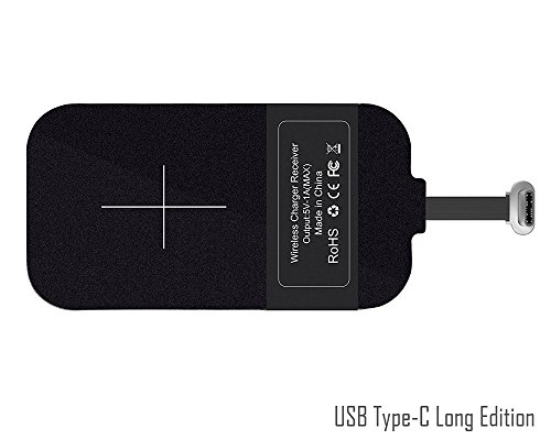 USB Type-C de QI de Carga inalámbrica Receptor [Largo Edition], USB-C Wireless Charging Receiver inalámbrico del…