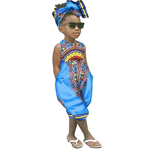 WOCACHI Toddler Kid Baby Girls African Boho Sleeveless Romper Hair Band Bodysuit Jumpsuit Clothes 2019 Summer Under 5 Dollars Deals Blue