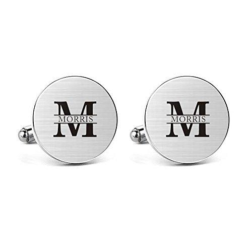 Dome Stud Cufflinks - MUEEU Cufflinks Engraved M Name Personalised Big Initials Handmade Groom Usher Father Wedding Cuff Links (Round Cufflinks)