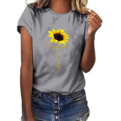 LuluZanm Sunflower Print T-Shirts for Women Sale Ladies Basic Summer Short Sleeve Tops Plus Size O-Neck Blouse Gray