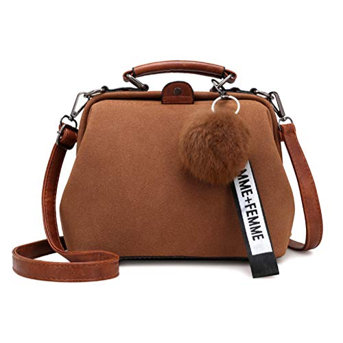 Donalworld Women Vintage Hobo Doctor Style Pu Leather Shoulder Bag Brown