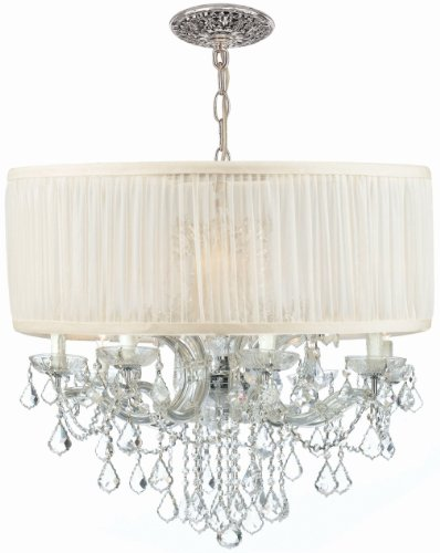 Crystorama 4489-CH-SAW-CL-S, Brentwood Swarovski Crystal Chandelier Lighting, 12LT, 720w, - 6 Cls Chandeliers Light