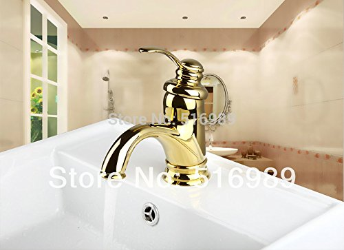 Retro Deluxe FaucetingEasy Operate Durable golden Polished Bathroom Tap Faucet Mixer 9816 8