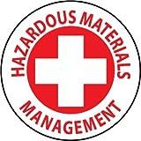 NMC HH45 2'' x 2'' PS Vinyl Hard Hat Emblem w/Legend: ''Hazardous Materials Management'', 12 Packs of 25 pcs