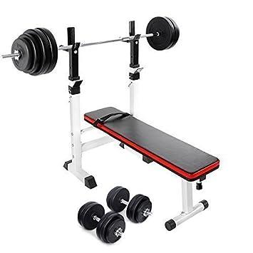 Accesorios® PNT banco de musculación plegable y ajustable + 30 kg juego de mancuernas + 60 kg juego de barra para pesas de: Amazon.es: Deportes y aire libre
