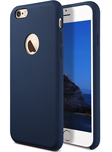 Coolwee Liquid Silicone Rubber iPhone 6s Plus Case Works Car Mount Shockproof with Soft Microfiber Cloth Cushion Gel Case for Apple iPhone 6 Plus 5.5 inch Dark Blue