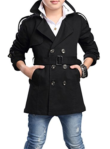 JiaYou Child Kid Boy Stylish Cotton Blend Long Sleeve Double Breasted Trench Coat(Black,Height 47.24