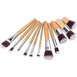 JD Million shop 11Pc Makeup Brushes Set Foundation Eyeshadow Powder Brush Brochas Maquillaje Face Contour Blush Make up Brushes Pincel Maquiagem