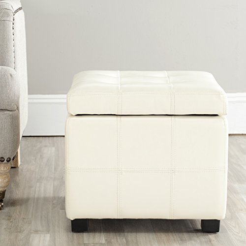 - Safavieh Hudson Collection NoHo Tufted Cream Leather Square Storage Ottoman