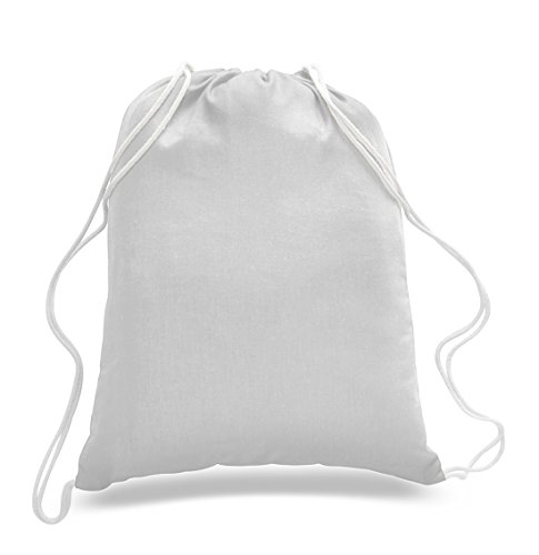 1 Dozen - Durable Cotton Drawstring Tote Bags