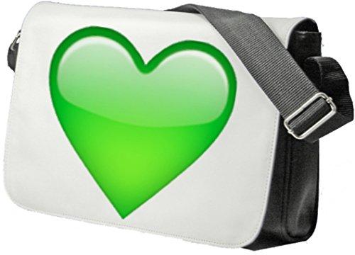 """Schultertasche """"Grünes Herz"""" Schultasche, Sidebag, Handtasche, Sporttasche, Fitness, Rucksack, Emoji, Smiley"""