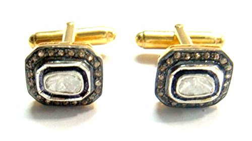 Rose Cut Diamond 925 Sterling Silver 14K Gold Finish Polky Vintage Style Gift Cufflinks Men Father -