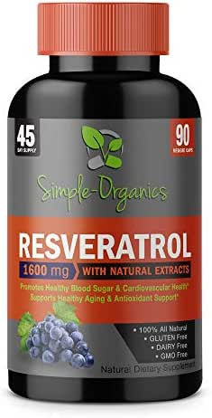 Resveratrol 1600mg per Serving- 100% Organic, Pure Extra Strength Complex with Organic Trans-Resveratrol - Anti-Aging, Radiant Skin, Blood Sugar and Immunity Support- 45 Day Supply