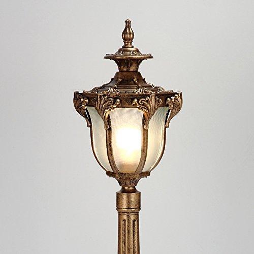 (Meidn Vintage Outdoor Glass Lamp Post Lantern Waterproof IP55 Rated Pillar Column Lamp 1-Lights Veranda Bronze Traditional E27 High Pole Street Lighting Die-cast Aluminum (Size : Height: 0.8m))