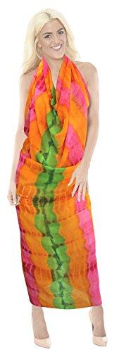 traje de baño de tinte del lazo del bikini falda pareo pareo hawaiano de la gasa pura de la mujer Rosa Fluo | Nous: 26W (2X) / Uk: 28