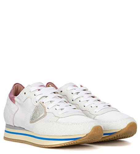Philippe Model Women's Tropez Higher Pink and White Fabric Sneaker 41(EU) -7(UK) White jEdwih4