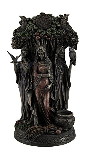 Resin Statues Danu Irish Triple Goddess of The Tuatha De Danann Bronze Finish Statue 6 X 10.5 X 5 Inches Bronze - Pan Statue
