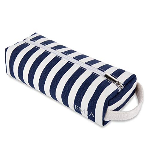 JEMIA - Blue White Stripe Canvas Pencil Cases with Handle, Simple One Zipper Compartment Bag to Hold Office or Cosmetic Makeup Supply Accessories for Kid, Teen, Boy, Girl or Adult for Men, Women