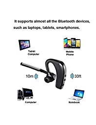 Bluetooth Headset, Sunay Wireless 4.1 Earpiece Lightweight Headphones Noise Reduction Earphones/Earbuds with Mic, (8Hrs Talk Time, Separate mute botton,Hands Free for Driving )