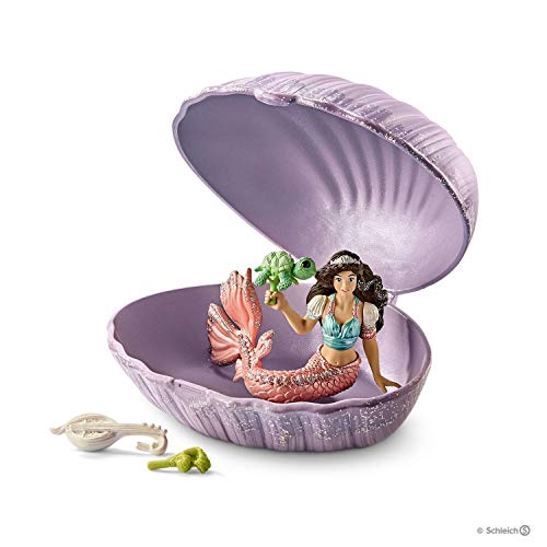 Schleich Mermaid with Baby Turtle in Shell Toy, Multicolor