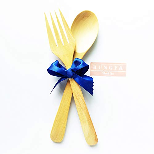 Rungfa wooden fork and spoon set Salad Utensils Travel Organic Earth Friendly Material Dishwasher-Safe Outdoor Indoor Dinner Picnics Camping 2 Pair
