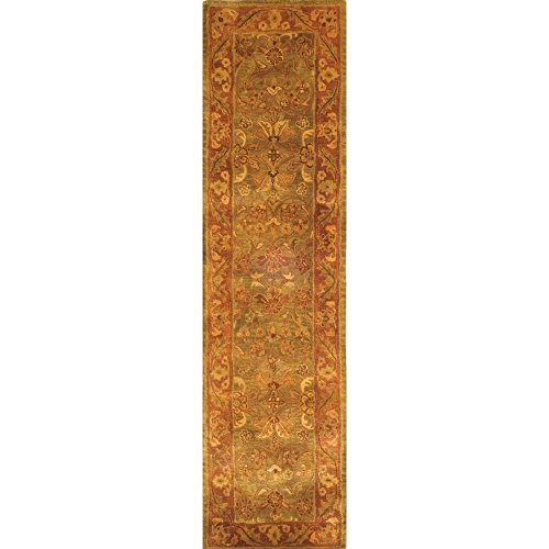 Safavieh Golden Jaipur Collection GJ250A Handmade Green and Rust Premium Wool Runner (2'3
