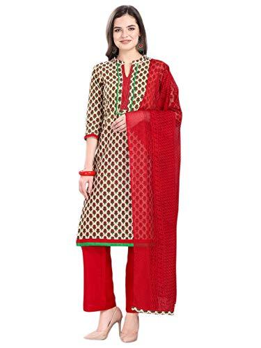 Jevi Prints Women's Pure Cotton Block Print Dress Material with Chiffon Dupatta (Aarambh-360002_Beige & Red_Free Size)