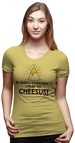 Crazy Dog TShirts - Womens In Queso Emergency Pray To Cheesus Funny Taco Tuesday T shirt - Camiseta Para Mujer