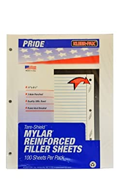 Kleer-Fax Tare-Shield Mylar Reinforced Filler Paper, 5/16 Inch Ruled - Red Margin, 50# White Offset, 11 x 8-1/2 Inches, 100 Sheets per Pack (20915)