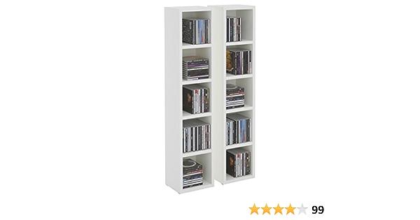 Estantería de columna modular y apilable para CD y DVD, de tableros de madera densidad media MDF de roble Sonoma, modelo Musique