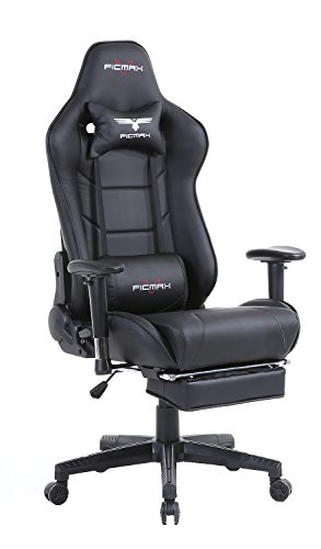 Cheap Ficmax Large Size High-back Ergonomic Gaming Chair Racing Seat with Massager Lumbar Support and Retractible Footrest (Black)