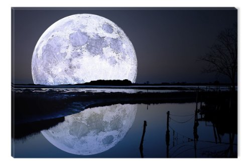 Startonight Canvas Wall Art Full Moon Water Reflection, Sky USA Design for Home Decor, Dual View Surprise Artwork Modern Framed Ready to Hang Wall Art 31.5 X 47.2 Inch 100% Original Art (Halloween Decor Hobby Lobby)